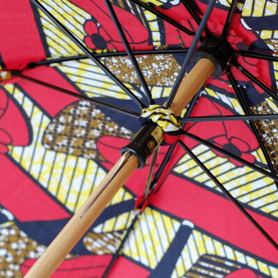 SURMER(シュールメール)アフリカンバティック使用、晴雨兼用コットン日傘(日本製)/ハイヒール柄(バンブー紫外線対策お洒落シュルメールSURMER)