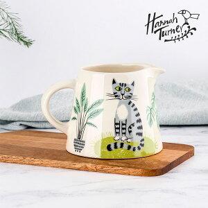 Hannah Turner(ハンナターナー)Cat Milk Jug ミルクジャグ 400ml(ミルクピッチャー ミルクポット フォームミルク 電子レンジ可 食洗器可 猫 ねこ ネコ キャットモチーフ 陶器 せっ器)