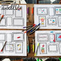 eatsleepdoodle(イートスリープドゥードゥル)setof4placematsframe(お絵描きできるランチョンマット)(キッズお絵描きらくがきペンカラフル知育ぬり絵フレーム額縁お出かけランチョンマットプレイスマットプレゼントギフト)