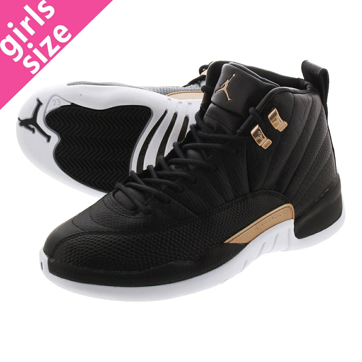 レディース靴, スニーカー NIKE WMNS AIR JORDAN 12 RETRO 12 BLACKMETALLIC GOLDWHITE ao6068-007
