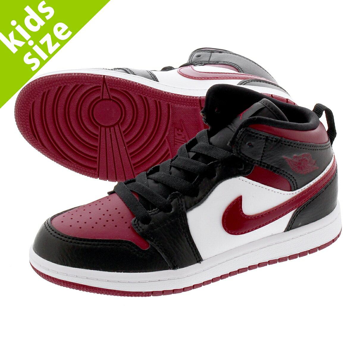 靴, スニーカー 16.022.0cm NIKE AIR JORDAN 1 MID PS 1 PS BLACKNOBLE REDWHITE 640734-066