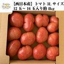 【送料無料】【西日本産】トマト 3Lサイズ 12玉〜16玉入...