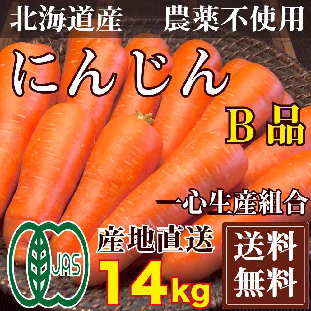 有機JAS にんじん B品 14kg(北海道 一心生産組合)農薬不使用 訳あり 送料無料 産地直送 オーガニック ※常温出荷(クール選択可)※