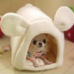 小型犬 チワワ ドームベッド 屋根付ハウス ドームカドラーうさみみドームベッド (小型犬 チワワ...