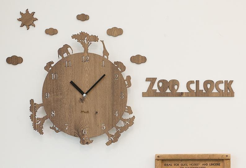 壁掛け 時計 ZOO CLOCKプレゼント 贈り物 も木目 木 木製 新築 お祝い ギフト おしゃれ 手作り 輸入 雑貨 誕生日 開店 mo:ro 動物 キリン 象 ウォールステッカー ウォールクロック 動物園 動物病院 かべかけ時計 子供