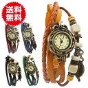 本革 ベルト クォーツ腕時計 レザーブレスレットタイプ ウォッチ リー...