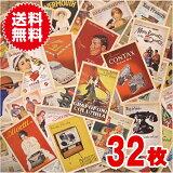 32枚セット ポストカード おしゃれ ヴィンテージ風 ポスター柄 レトロ アメリカン ノスタルジー コレクション 装飾
