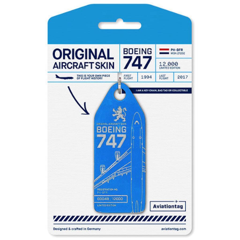 機体キーホルダー ボーイング Aviationtag B747 PH-BFR ブルー KLMオランダ航空 飛行機 航空雑貨 エアライングッズ コレクション【正規代理店】