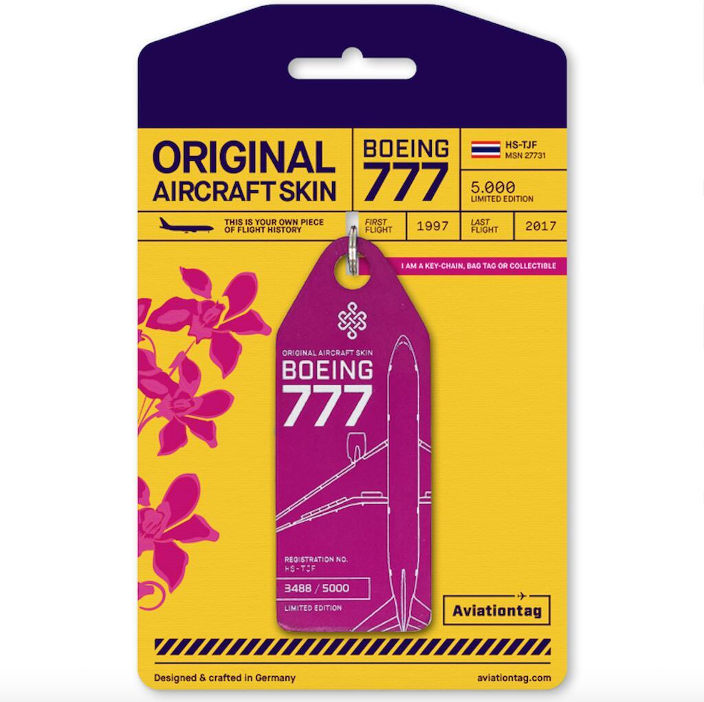 機体キーホルダー ボーイング Aviationtag  B777 HS-TJF ピンク タイ国際航空 飛行機 航空雑貨 エアライン雑貨 コレクション【正規代理店】