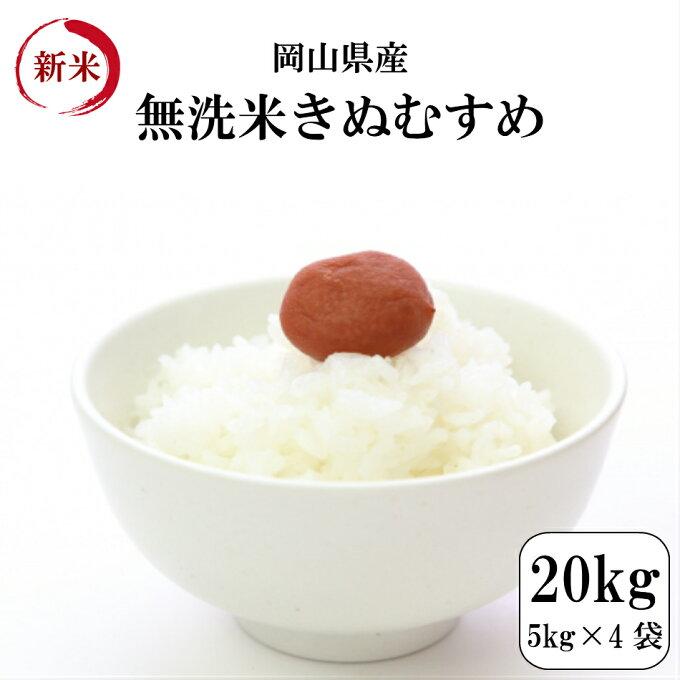 無洗米 お米 20kg 岡山県産きぬむすめ無洗米 20kg(5kg×4袋) 令和元年産 送料無料