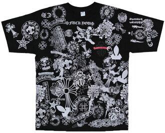 Chrome multi motif print T shirt black