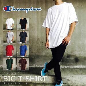 Champion チャンピオン ビッグTシャツ 半袖 メンズ 無地 【 送料無料 】 USA 袖ワッペン ストリート系 Tシャツ ビックTシャツ ビッグシルエット ビックシルエット オーバーサイズ 大きいサイズ 白 黒 グレー 紺 XL 2XL