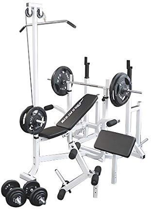 マルチトレーニングジムセット アイアン140kg[Slim Fit スリムフィット]  バーベル ベンチプレス トレーニングマシン 自宅 スクワット 大胸筋 腹筋