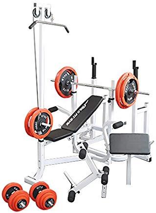 マルチトレーニングジムセット 赤ラバー140kg[Slim Fit Gym スリムフィット]  バーベル ベンチプレス トレーニングマシン 自宅 スクワット 大胸筋 腹筋