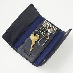 【送料無料/名入れ可:】ノワール三つ折りキーケース