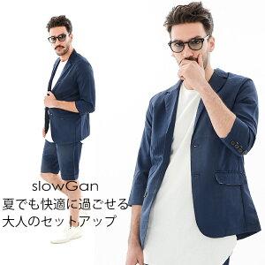 SLOWGAN セットアップ メンズ 春夏 春服 シアサッカー スーツ上下 ネイビー S-L ブランド