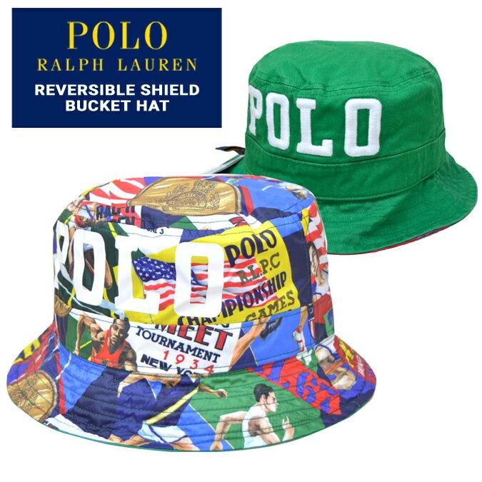 【割引クーポン配布中】 POLO Ralph Lauren ポロ ラルフローレン ハット REVERSIBLE SHIELD BUCKET HAT CAP リバーシブル バケットハット キャップ 帽子 マルチカラー グリーン