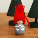 クリスマス オーナメント スウェーデン Larssons Tra ラッセントレー 木製 オーナメント トムテ グレー ぴんくほっぺ