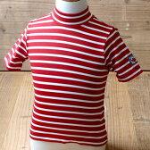 【SALE】Little Red Fish リトルレッドフィッシュ 子供 水着 ラッシュガード UVカット 半袖 ストライプ レッド地×ホワイト