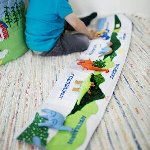 布絵本 布おもちゃ えほん 出産祝い かわいい 仕掛け絵本 恐竜 男の子 Oskar&ellen オスカー&エレン ファブリックブック ダイナソー