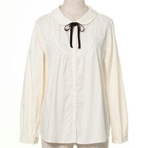 【50%OFF】SM2 綿ドット柄リボン付丸衿シャツ あす楽対応 サマンサモスモス【rbato】-【sa】