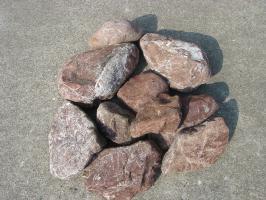 【送料無料】三重の赤石(土留めセット)お庭のアクセントや土留めに♪玉砂利とのしきりに・・・使い方色々の赤石10石セットです♪庭石のことなら当店におまかせ^^【ガーデニング資材】