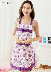 【新入荷】花柄デザインエプロン(MD-2)激安apron3D柄かわいいファッションお洒落なエプロン韓国風キッチン防水