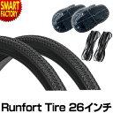 自転車 タイヤ 26インチ チューブ セット 26×1 3/8 WO 1ペア 2本巻き (タイヤ、チューブ、リムゴム各2本)Runfort Tire(ランフォート..