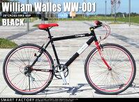 自転車クロスバイクWilliamWallesWW-001(2色)2014年モデル26インチ自転車シマノ製6段変速フロントサスペンション可動式ステム自転車メンズレディース通販【送料無料】