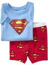 訳あり処分綿100%スーパーマン半袖Tシャツハーフパンツセット男の子半袖子ども子供パジャマ上下セット寝巻き(返品不可)