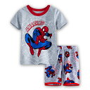 スパイダーマン 綿100% 灰色 半袖Tシャツ ハーフパンツ セット 子供 男の子 グレー パジャマ 上下セット 子ども 寝巻き♪