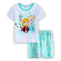 アナと雪の女王綿100%半袖Tシャツショットパンツセット女の子パジャマ子供子ども上下セット半袖袖パジャマ寝巻き薄グリーン