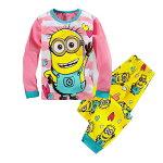 新入荷キャラクターミニオンズパジャマ長袖Tシャツ&ロングパンツセット男の子キッズ子どもパジャマ子供パジャマ黄色/水色