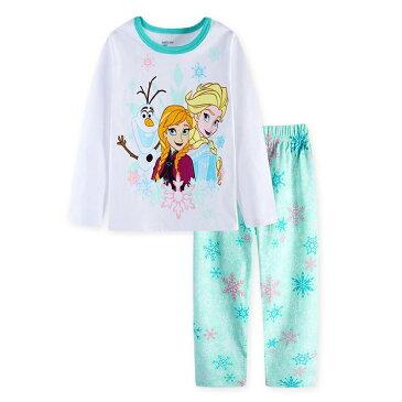 ゆうパケット送料無料アナと雪の女王 綿100% 長袖Tシャツ ロングパンツセット 女の子 パジャマ 子供 子ども 上下セット 長袖 パジャマ 寝巻き 白/薄グリーン