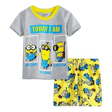 ゆうパケット便送料無料 綿100% キャラクター ミニオンズ グレー/黄色 綿100% パジャマ 半袖Tシャツ&ショットパンツ セット 女の子 男の子 キッズ 子どもパジャマ 子供 パジャマ