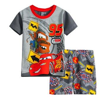 車 CAR柄 カー cars 柄 綿100% 半袖Tシャツ&ハーフパンツ セット♪男の子 キッズ 子どもパジャマ 車柄 ダークグレー