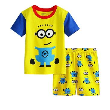 新入荷 ゆうパケット送料無料 キャラクター ミニオンズ 綿100% パジャマ 半袖Tシャツ&ショットパンツ セット 女の子 男の子 キッズ 子どもパジャマ 子供 パジャマ 黄色