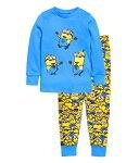 新入荷ゆうパケット送料無料キャラクターミニオンズパジャマ長袖Tシャツ&ロングパンツセット男の子キッズ子どもパジャマ子供パジャマ水色・黄色色