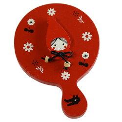 赤ずきん木製品かわいいミニミラー(赤)ShinziKatohdesignredhoodmini-mirror