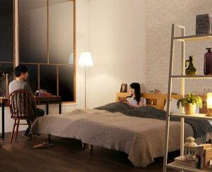 寝室こそこだわりたい!こだわりベッドで365日快適な寝室へ棚・コンセント付デザインすのこベッド【Mowe】メーヴェ【マルチラススーパースプリングマットレス付き】ダブル【受注発注】