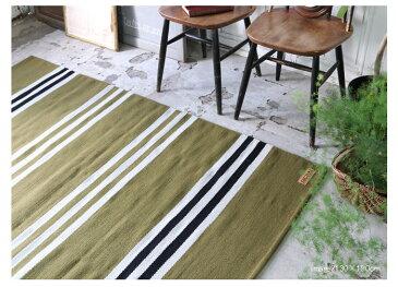 【直送】【送料無料】インドウール手織りラグ ストライプ(WR800)(185×185cm)【受注発注】