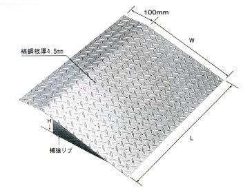 鋼板製・融解亜鉛メッキ仕上げ 乗用車用 縞鋼板製歩道上がり 適用段差100mm HSL-1000-10 【代引き不可】