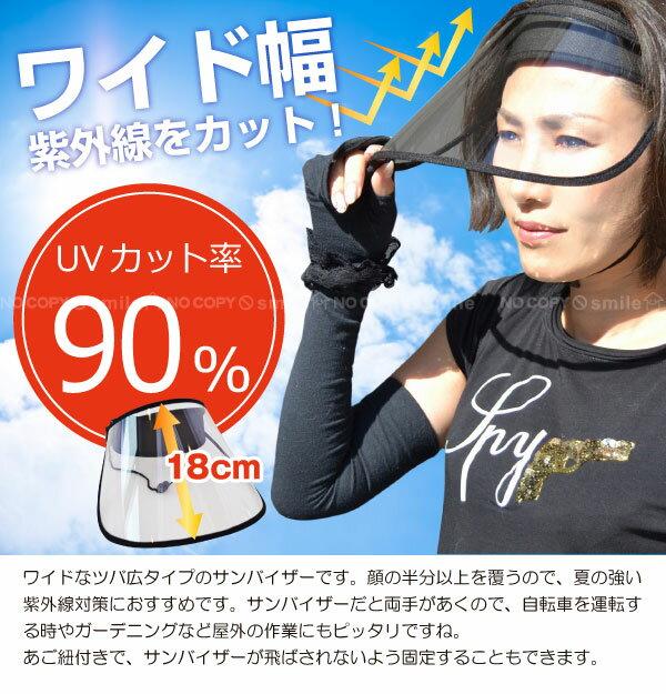 サンバイザー uvカット 自転車 /ワイドクリアサンバイザー/【ポイント 倍】