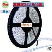高輝度ピカットLEDテープライト防水24V5mホワイト白ベース2835600連両端リード線20cm0.5sq