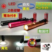 医療用 LED ペンライト ボタン切替 黄光 白光 ノック式  電池付 ナース 看護 ポイント消化