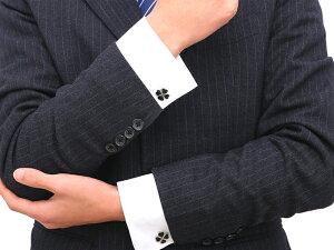 送料無料 クローバー カフスボタン 全2色 / ファッション ファッション小物 アクセサリー メンズ クラシック ラッキー 幸運 チャーム グリーン ブラック カフリンクス おしゃれ 大人 男性 スーツ スーツ小物 ヨツバ 四つ葉 フォーマル 結婚式 披露宴 パーティ 二次会 人気