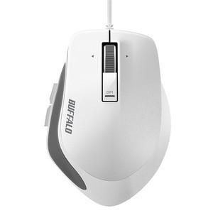 バッファロー 有線 BlueLEDプレミアムフィットマウス Mサイズ ホワイト BSMBU500MWH