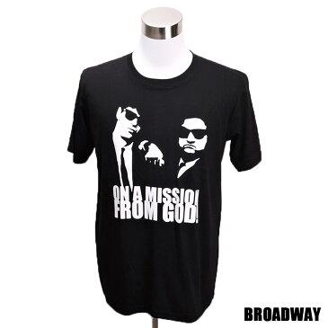 デザインTシャツ Broadway The Blues Brothers ブルース・ブラザース 映画Tシャツ プリントTシャツ グッズ ダン・エイクロイド ジョン・ベルーシ Tシャツ メンズ レディース サイズM&L