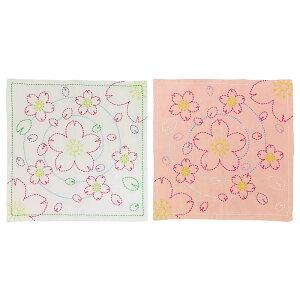 154刺し子花ふきん水辺の桜