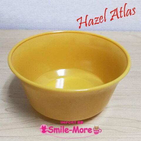 Hazel Atlas ヘーゼルアトラス OVIDE オバイドシリーズ モダントーン・イエロー黄色 サラダボウル シリアルボウル 取り皿 スープボウル ミルクガラス
